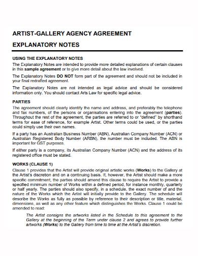 artist gallery agent agreement
