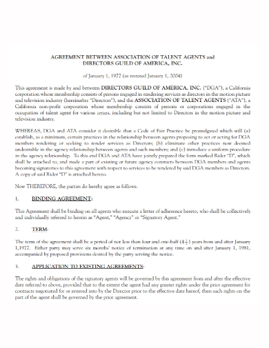 artist talent agent agreement