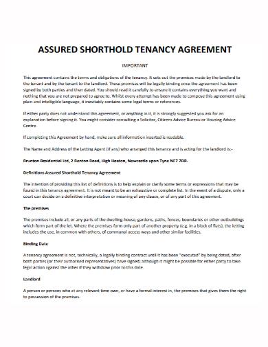 assured shorthold agreement