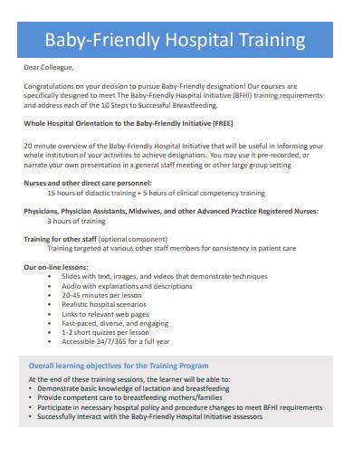 baby friendly hospital training proposal