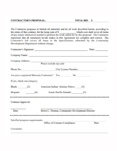 bid contractor proposal