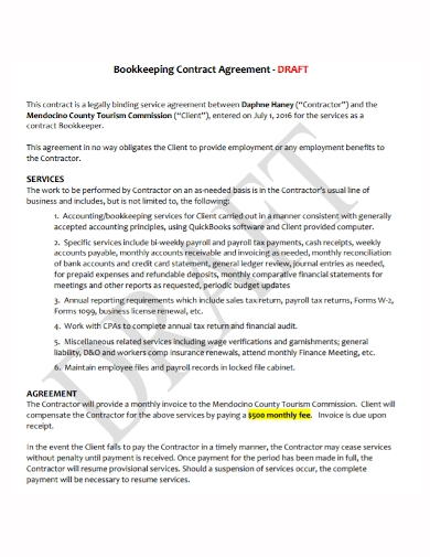 bookkeeping contract agreement