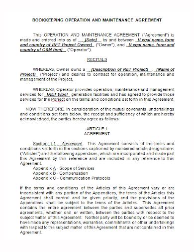 bookkeeping maintenance agreement