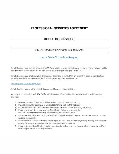 bookkeeping professional services agreement
