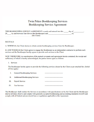 bookkeeping services agreement