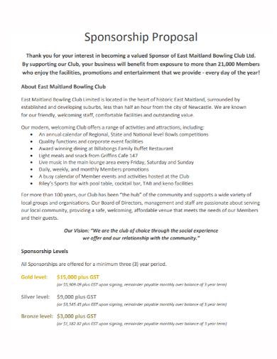 bowling club sponsorship proposal