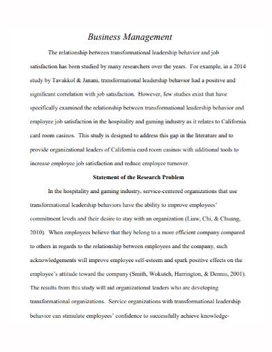 business management research problem statement