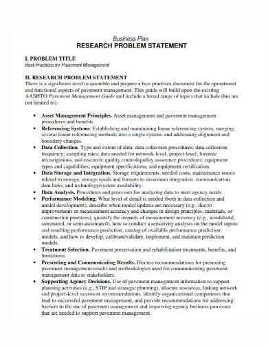 business plan research problem statement