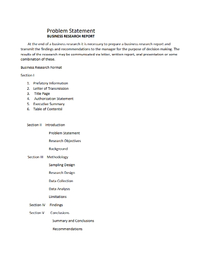 business research report problem statement