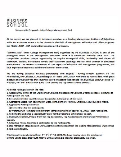 business school sponsorship proposal
