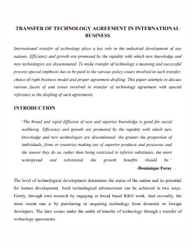 business technology transfer agreement
