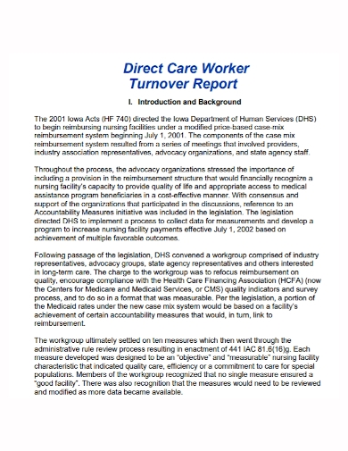 care worker turnover report