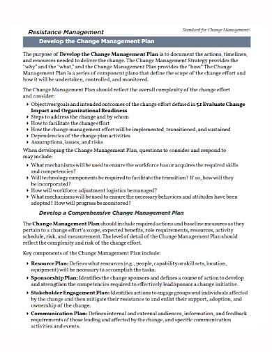 change resistance development management plan