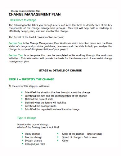 change resistance implementation management plan