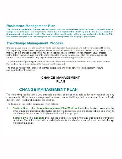 change resistance management process plan
