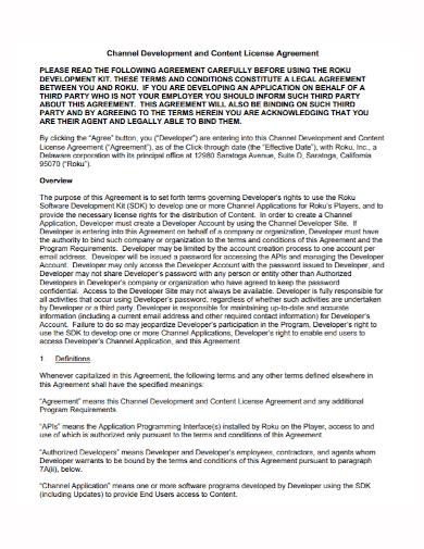 channel development content license agreement