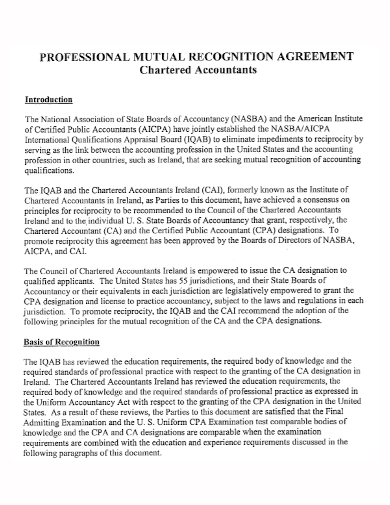 chartered accountant recognition agreement