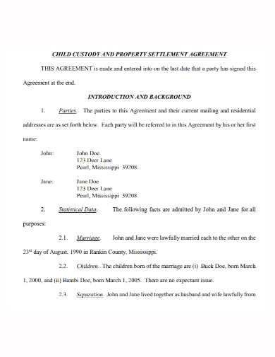 child custody property settlement agreement