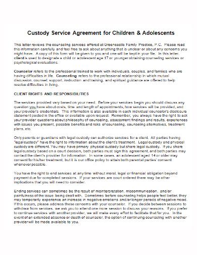 child custody service agreement