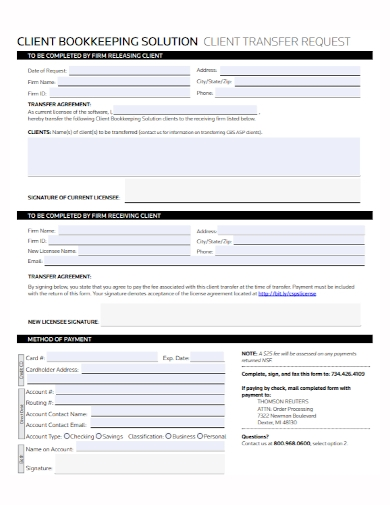 client bookkeeping transfer agreement