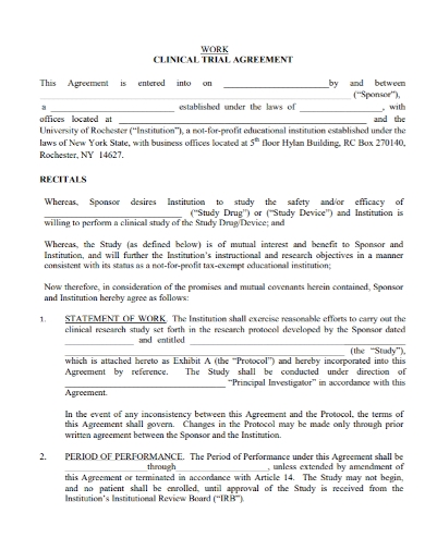 clinical work trial agreement