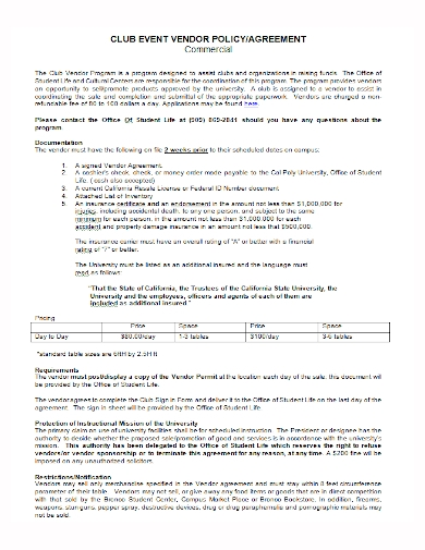 club event vendor policy agreement
