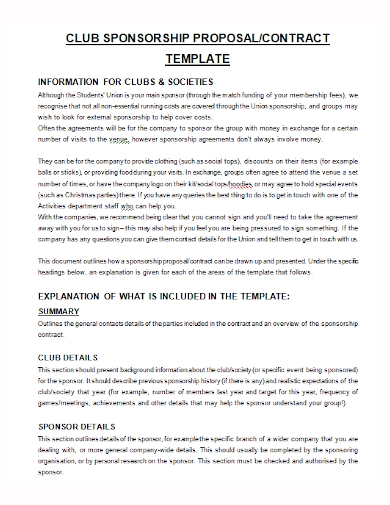 club sponsorship contract proposal