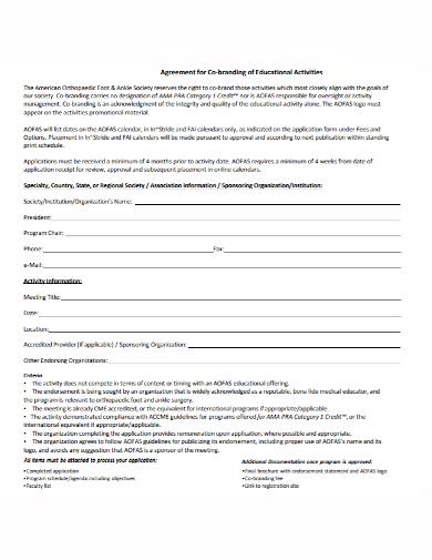 co‐branding educational agreement