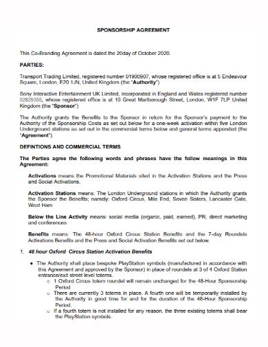 co‐branding sponsorship agreement