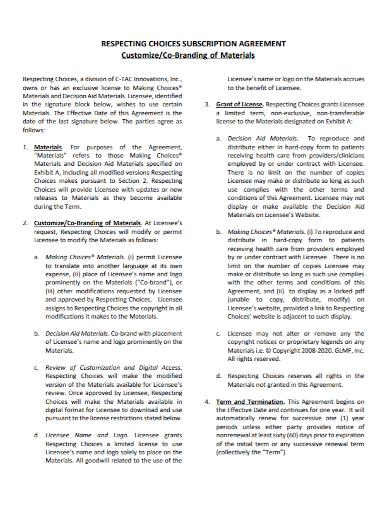 co‐branding subscription agreement