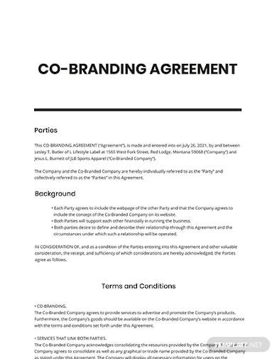 co branding agreement template