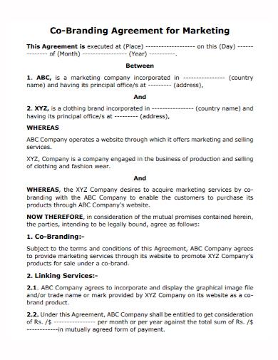 co branding marketing agreement