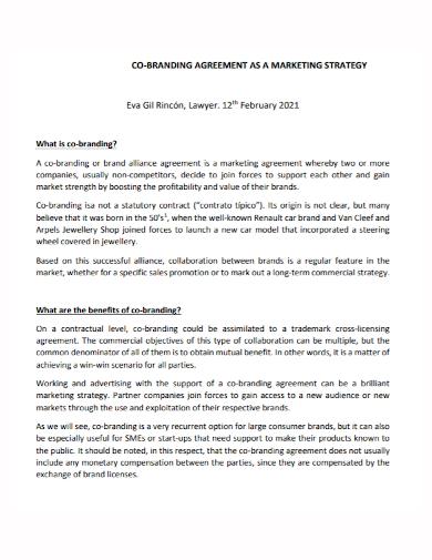 co branding marketing strategy agreement