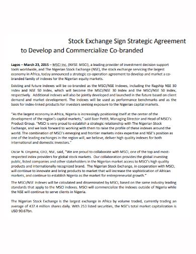 co branding stock exchange strategic agreement