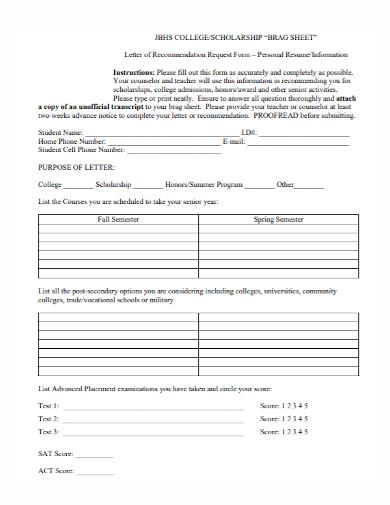 college scholarship brag sheet