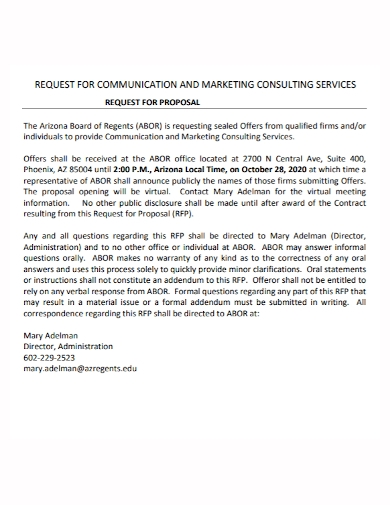 communication marketing consulting proposal