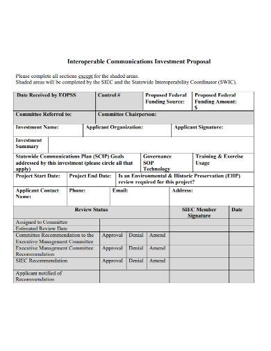 communications project investment proposal