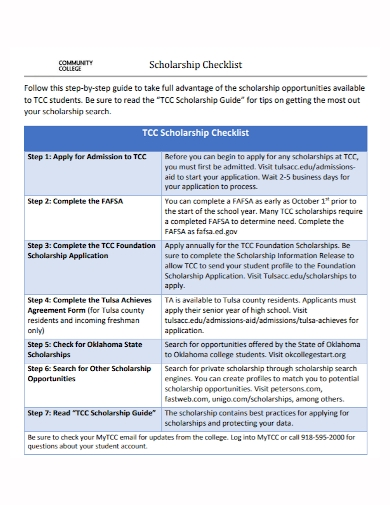 community scholarship checklist