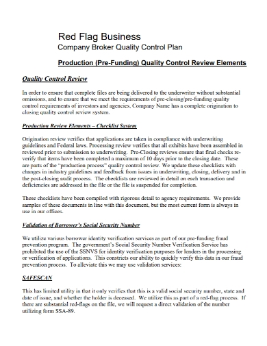 company quality control business plan