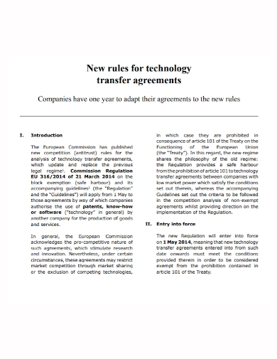 company technology transfer agreement