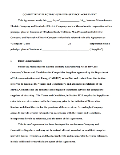 competitive electric supplier service agreement