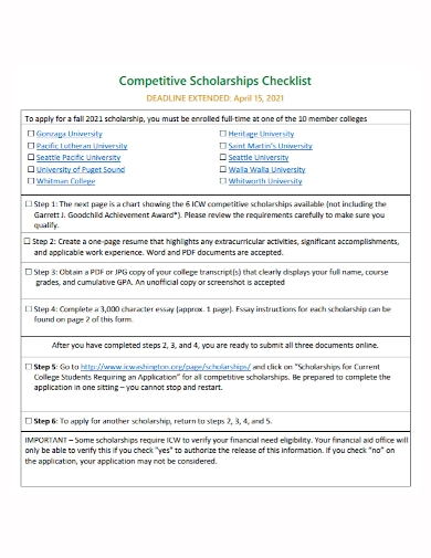 competitive scholarship checklist