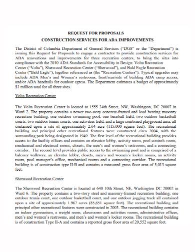 construction improvement services proposal
