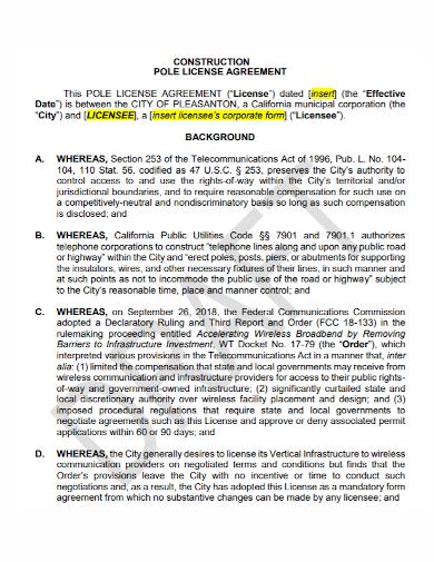 construction pole license agreement
