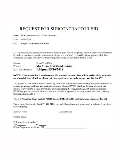 construction request for subcontractor bid