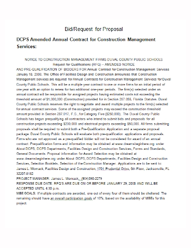 construction services bid proposal