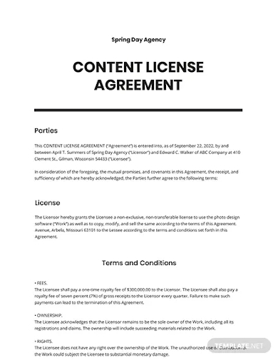 content license agreement template