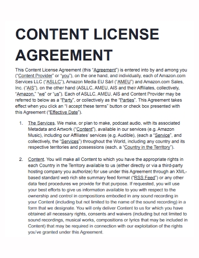 content license agreement