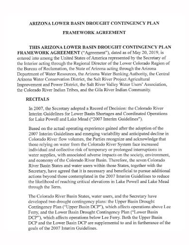 contingency plan framework agreement