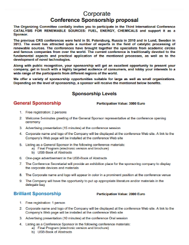 corporate conference sponsorship proposal